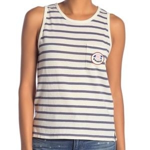 Madewell Hiatus Cotton Striped Sleeveless Top Med